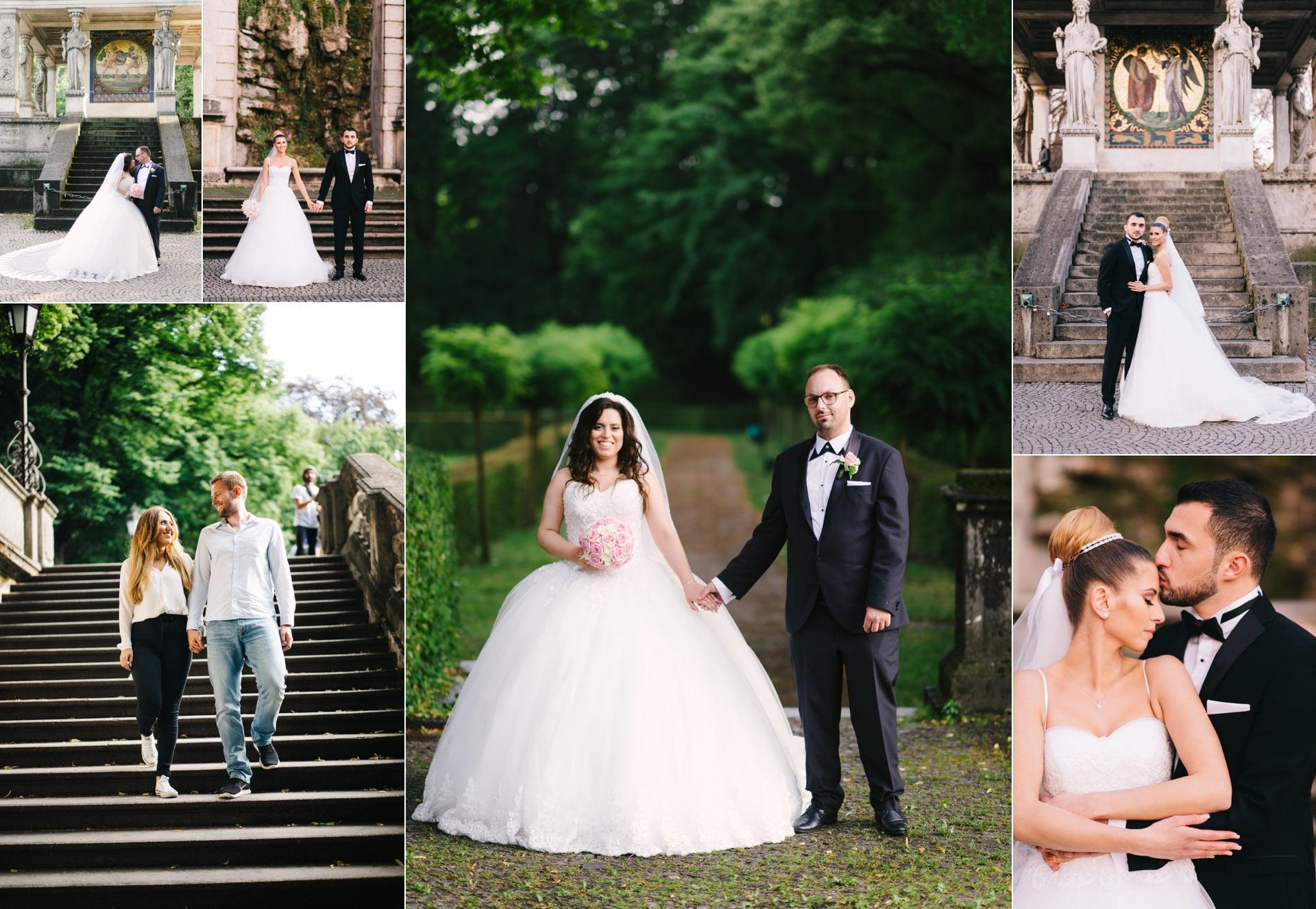 Friedensengel mit einem Brautpaar. Eine der besten Fotolocations für Hochzeitspaare.