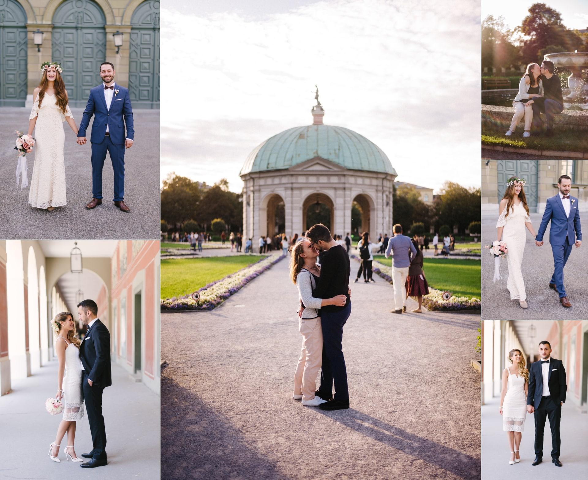 Hofgarten mit Brautpaaren. Kuss vor dem Pavillon, Paar küsst sich vor dem Brunnen im Hofgarten. Eines der besten Fotolocations für Hochzeitspaare in München.