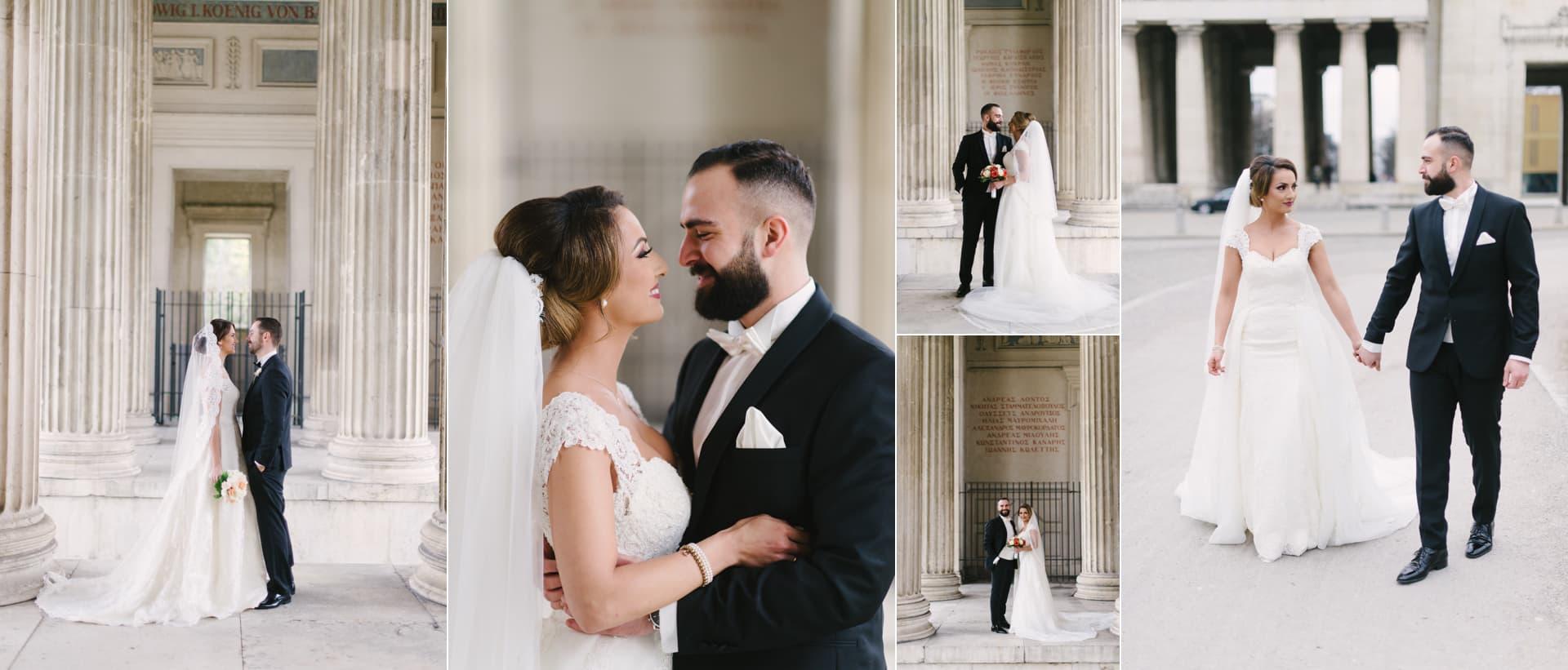 Brautpaarshooting am Königsplatz Hochzeitsfotograf Kamer Aktas in einer der besten Fotolocations für Hochzeitspaare