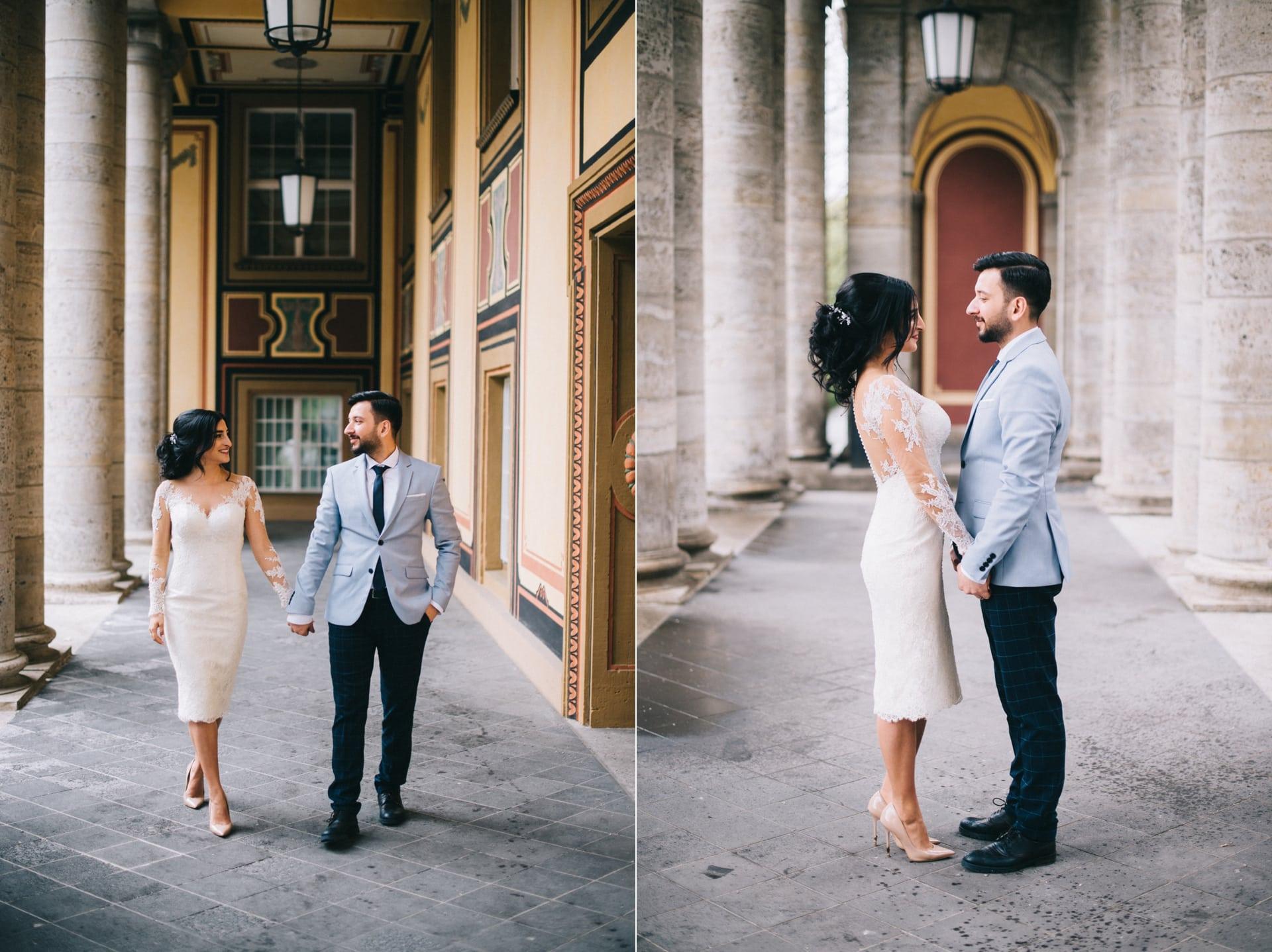 Dieser geheim Tipp ist eines der besten Fotolocations für Hochzeitspaare in München. Munich RE in der Königinstraße. Brautpaare verliebt.