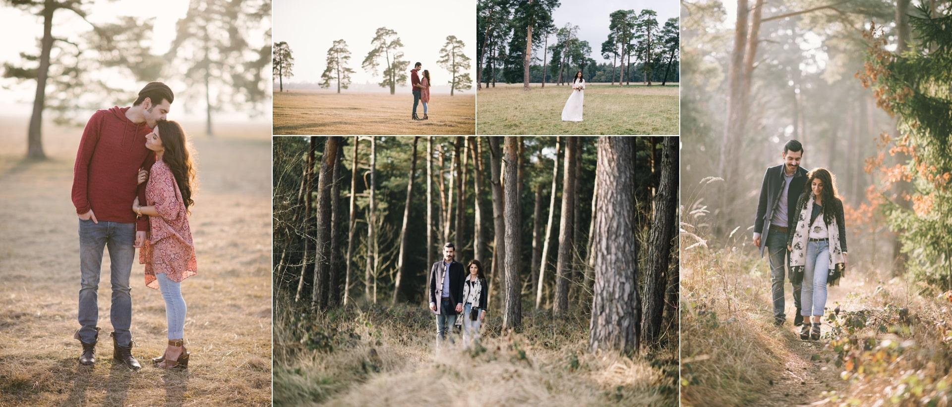 Pärchenshooting an der Panzerwiese. Wunderschöne Landschaft. Viele Bäume und Wald. Deshalb gehört diese Fotolocations zu den besten für Hochzeitspaare.