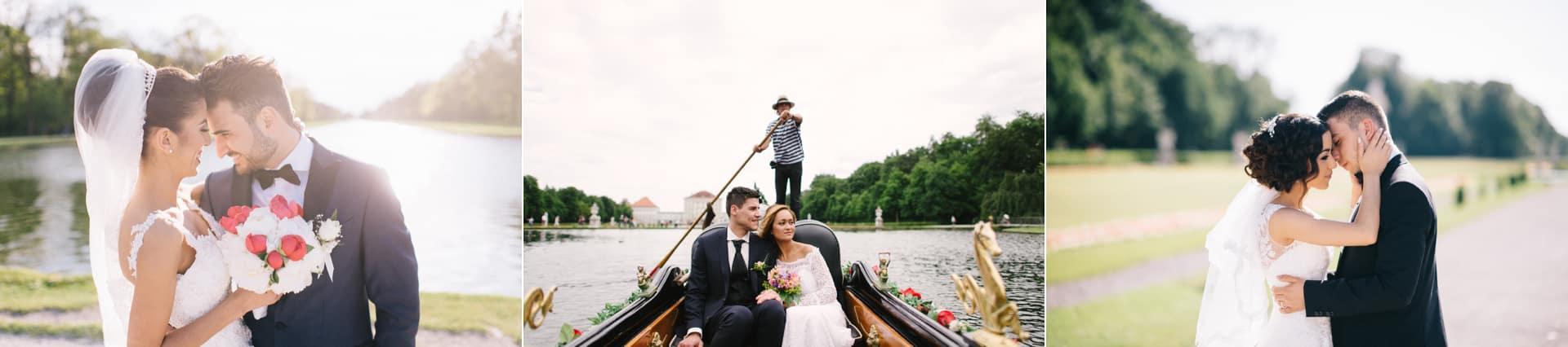Hochzeitspaar Fotoshooting am Schloss Nymphenburg eines der besten Fotolocations für Hochzeitspaare