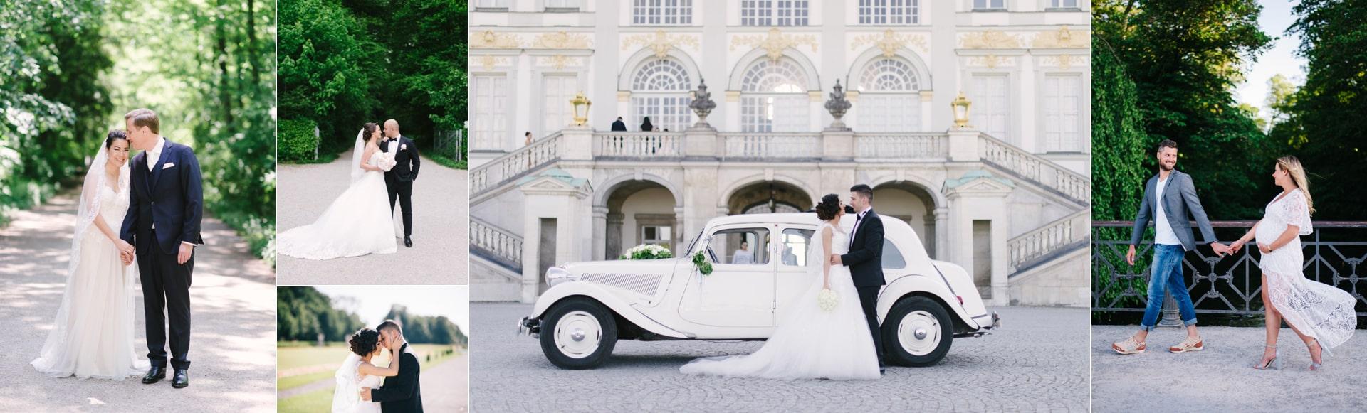 Hochzeitspaare am Schloss Nymphenburg. Diese Location ist die beliebteste bei Brautpaaren. Deshalb gehört sie zu den Münchens beste Fotolocations für Hochzeitspaare.