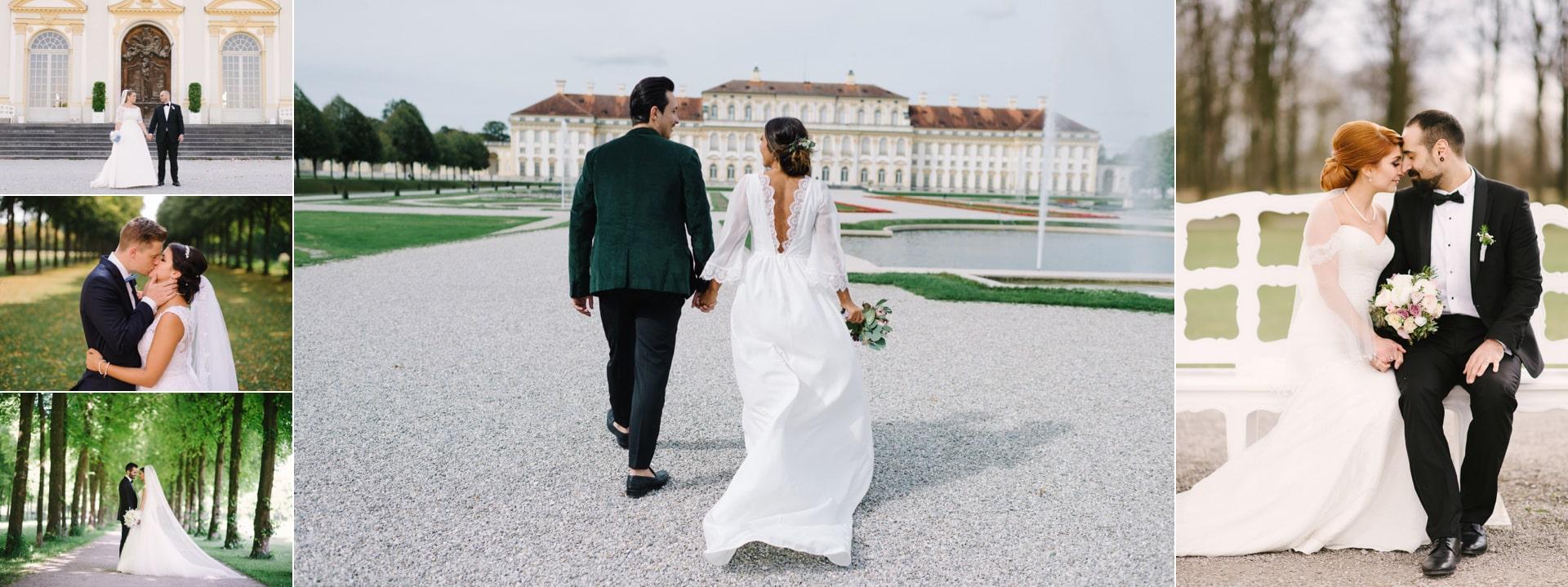 Brautpaar Schloss Schleißheim Hochzeit wunderschöne Hochzeitslocation. Auch diese Location ist eines der besten Fotolocations für Hochzeitspaare.