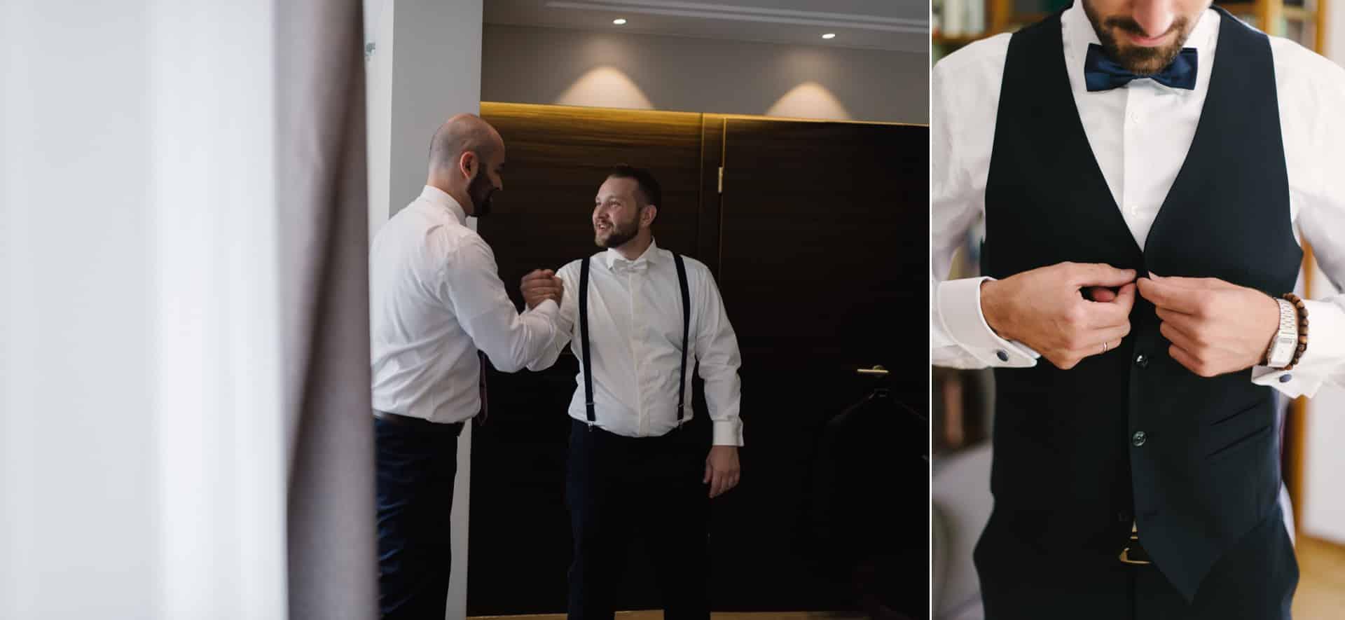 Bräutigam und sein Trauzeuge freuen sich auf den Hochzeitstag.