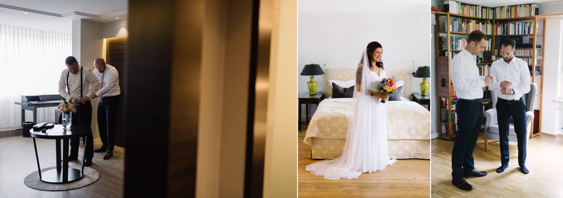 Braut und Bräutigam machen sich fertig für ihren Hochzeitstag. Hilfreich ist es immer jemand beim Getting Ready an der Seite zu haben.