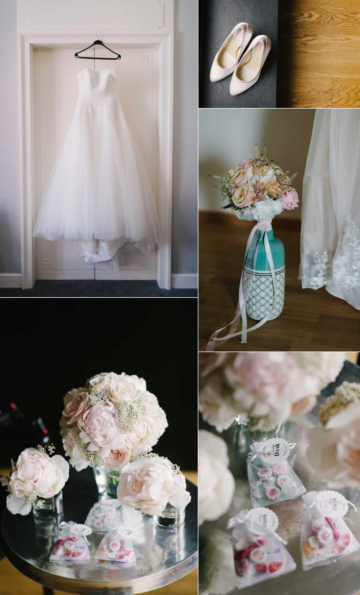 Brautkleid und ein paar Accessoires der Braut.