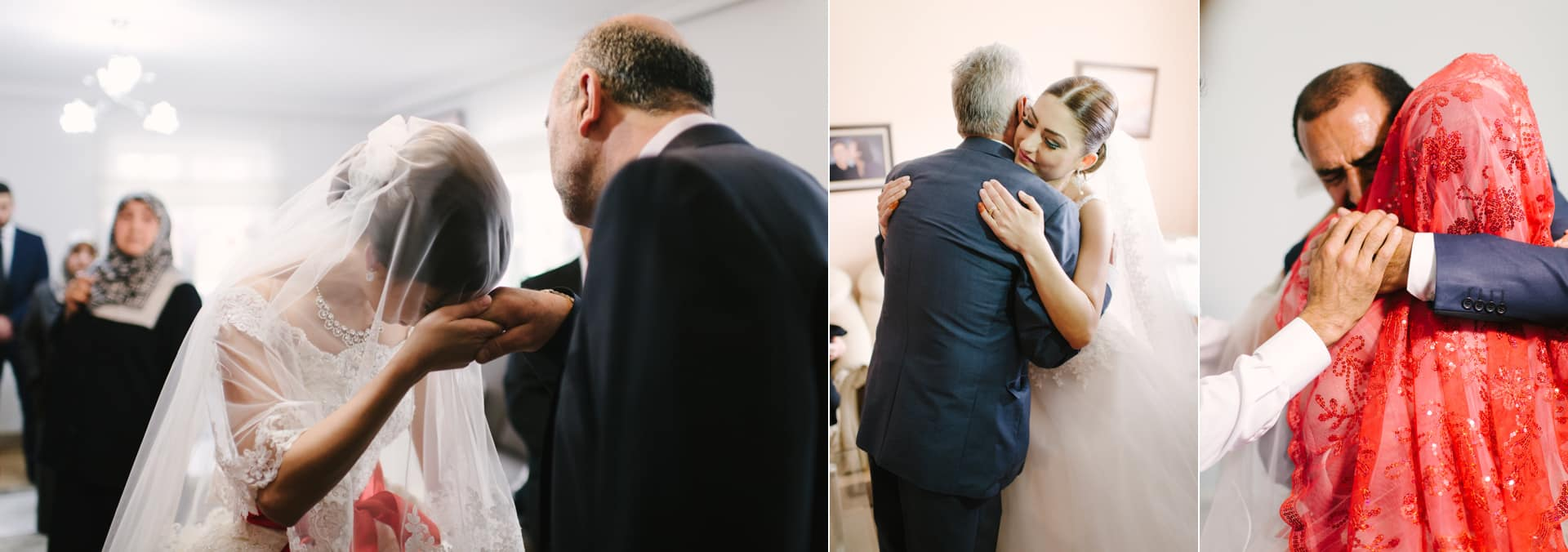 Türkische Braut verabschiedet sich bei ihrem Vater