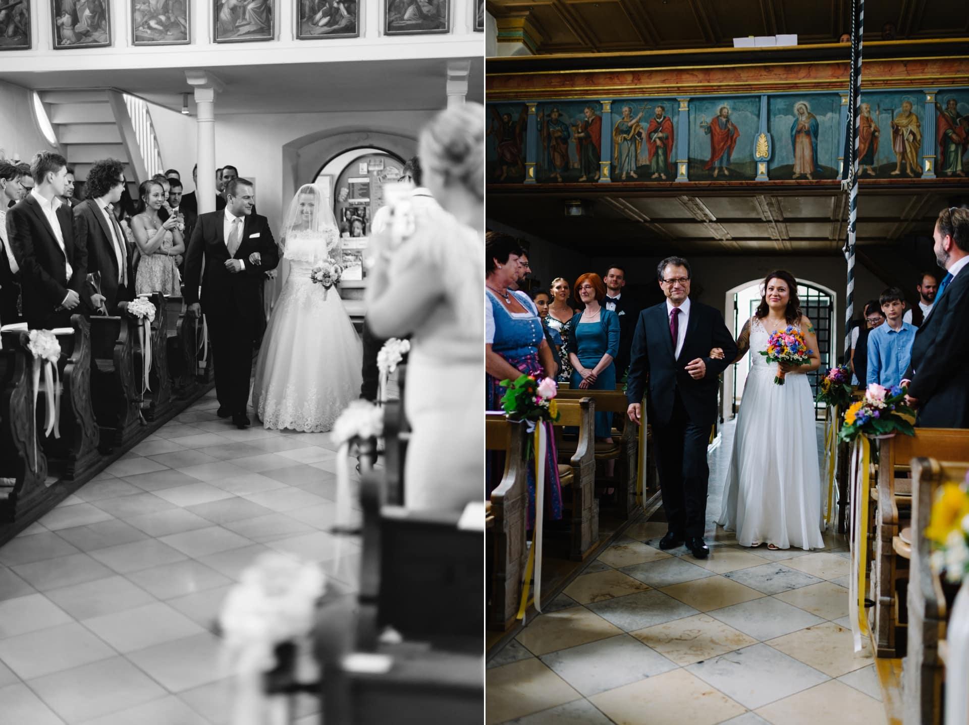 Braut und Brautvater beim Einzug in die Kirche am Hochzeitstag