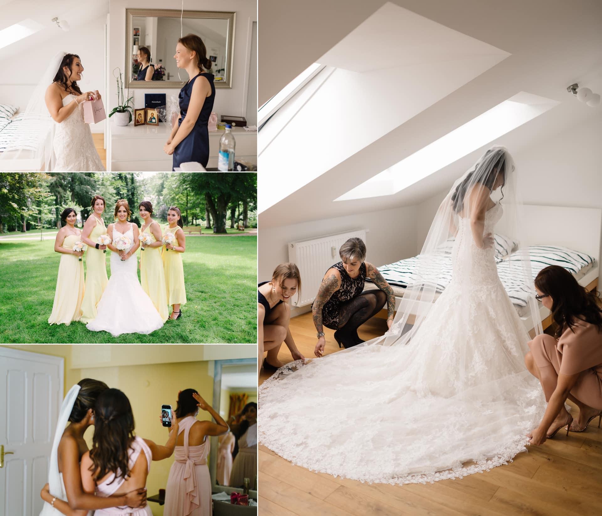 Die Trauzeugin hilft der Braut